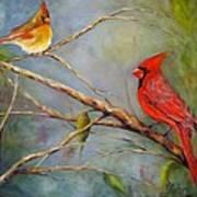 Courting Cardinals, Birds Poster