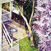 Courtyard With Cherry Blossoms Poster