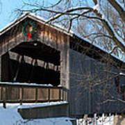 Covered Bridge At Christmas Poster