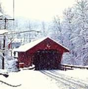 Covered Bridge In Winter Poster