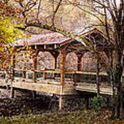 Covered Bridge On The River Walk Poster