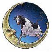 Cow And Moon Poster