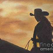 Cow Girl At Sunset Poster
