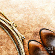 Cowboy Boots And Lasso Poster