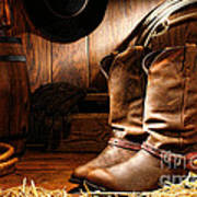 Cowboy Boots In A Ranch Barn Poster by Olivier Le Queinec