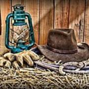 Cowboy Hat And Rodeo Lasso Poster by Paul Ward