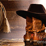 Cowboy Hat On Boots Poster