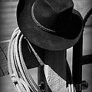 Cowboy Hat On Fence Post In Black And White Poster