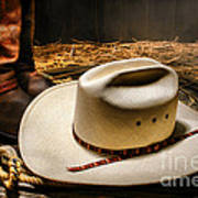 Cowboy Hat On Lasso Poster