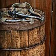 Cowboy Spurs On Wooden Barrel Poster