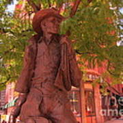 Cowboy Statue In Front Of The Brown Palace Hotel In Denver Poster