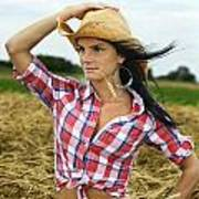 Cowgirl Holding Hat Vertical Poster