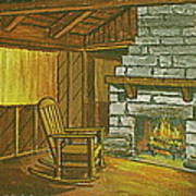 Cozy Fireplace At Lake Hope Ohio Poster