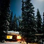 Cozy Log Cabin At Moon-lit Winter Night Poster