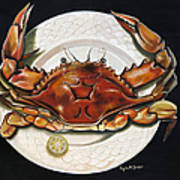 Crab  On Plate Poster