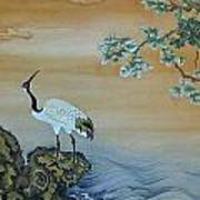 Crane Perched On A Rock At Dawn Poster