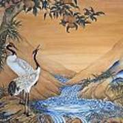Cranes Beside A Rocky Pool Poster