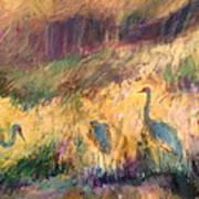Cranes In The Grain Poster