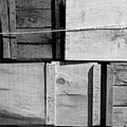 Crates At The Orchard 2 Bw Poster