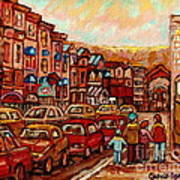 Crescent Street Family Stroll  Montreal City In Autumn City Scene Paintings Carole Spandau Poster