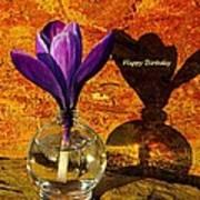 Crocus Floral Birthday Card Poster