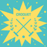Croquet. Vintage Background With Clubs Poster