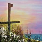 Cross At Sunset Beach Poster