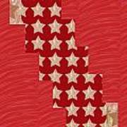 Cross Through Sparkle Stars On Red Silken Base Poster