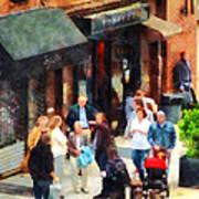 Crowded Sidewalk In New York Poster