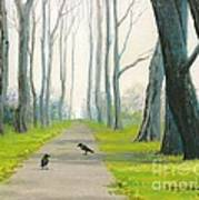 Crows On The Path Poster