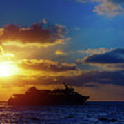 Cruise Liner At Sunset Poster