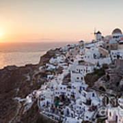 Cruise Ship At Sunset In The Mediterranean Sea Santorini Greece Poster