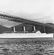 Cruise Ship Under Sf Bridge Poster