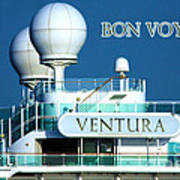 Cruise Ship Ventura's Radar Domes Poster by Terri Waters