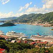 Cruise Ships In St. Thomas Usvi Poster