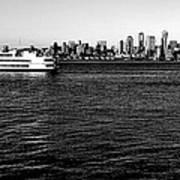 Cruising Elliott Bay Black And White Poster