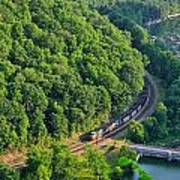 Csx Train At Hawks Nest Dam Poster