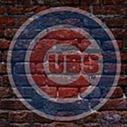 Cubs Baseball Graffiti On Brick  Poster