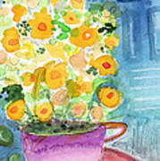 Cup Of Yellow Flowers- Abstract Floral Painting Poster