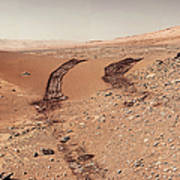 Curiosity Tracks Under The Sun In Mars Poster