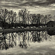 Cushwa Basin C And O Canal Black And White Poster