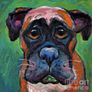 Cute Boxer Puppy Dog With Big Eyes Painting Poster