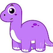 Cute Illustration Of A Brontosaurus Poster