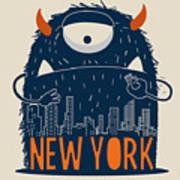 Cute Monster Vector Character Design Poster
