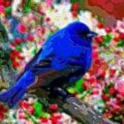 Cutout Layer Art Animal Portrait Bird Blue Poster