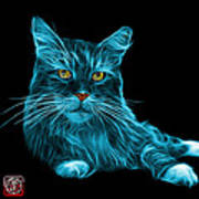 Cyan Maine Coon Cat - 3926 - Bb Poster