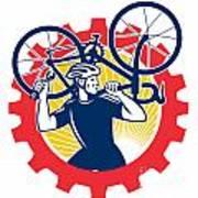 Cyclist Bicycle Mechanic Carrying Bike Sprocket Retro Poster by Aloysius Patrimonio