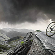 Cyclist Climbs To The Top Poster