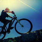 Cyclist On Bike Poster