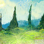 Cypress Trees On A Hill Side Poster
